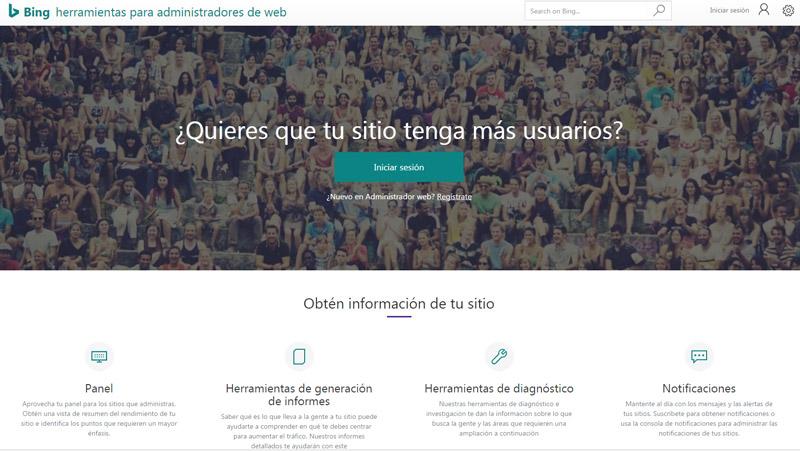 Página de inicio de las herramientas para administradores web de Bing.
