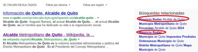 búsqueda relacionada en Bing.