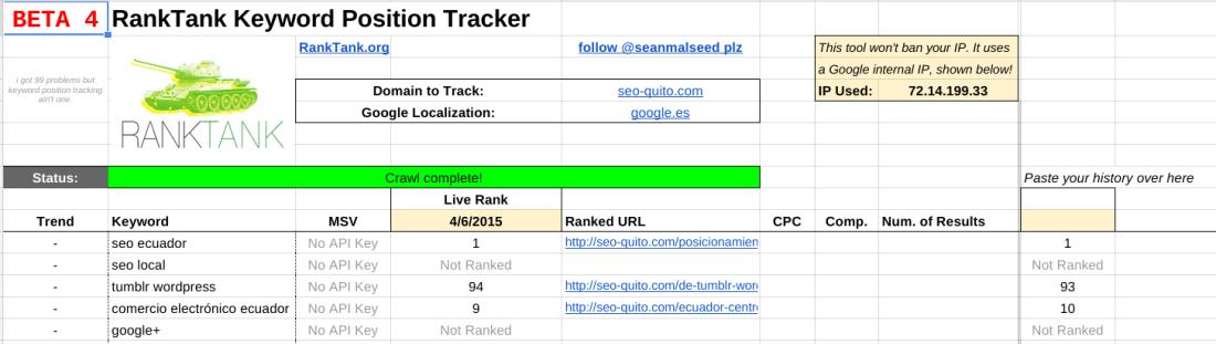 RankTank para comprobar lso rankings en Google