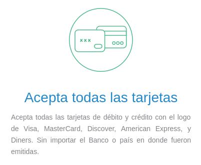 Página web de Kushki: El sistema funciona con Visa, Mastercard y Diners.
