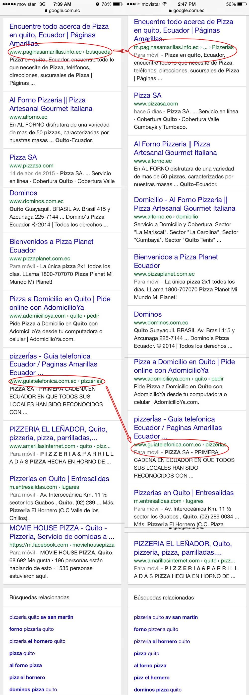 búsqueda móvil por pizzeria quito en Google Ecuador