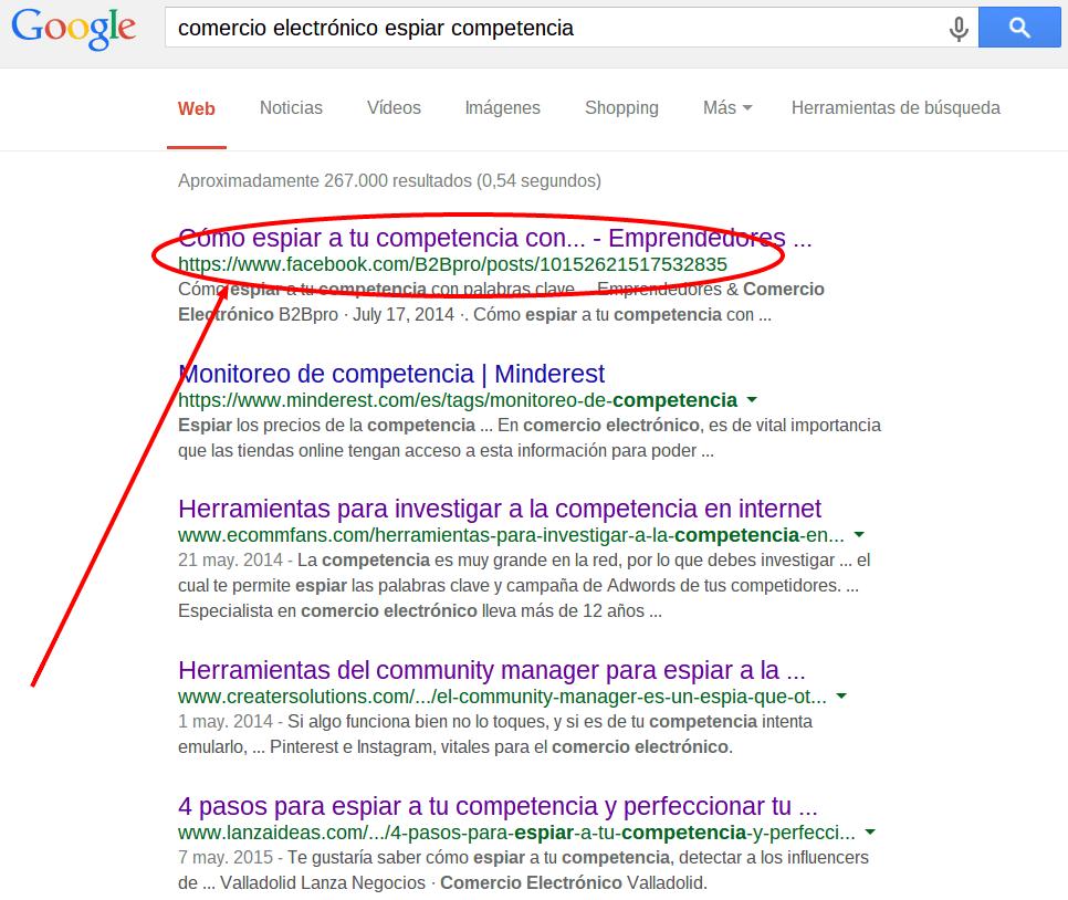 Facebook post como primer resultado de búsqueda en Google.