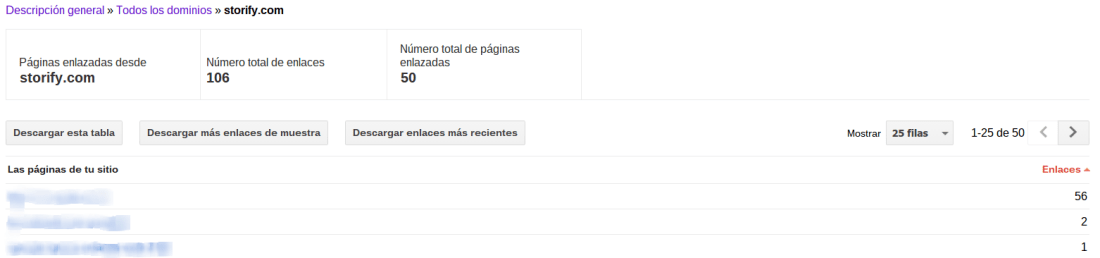 Links de Storify en Google Search Console.