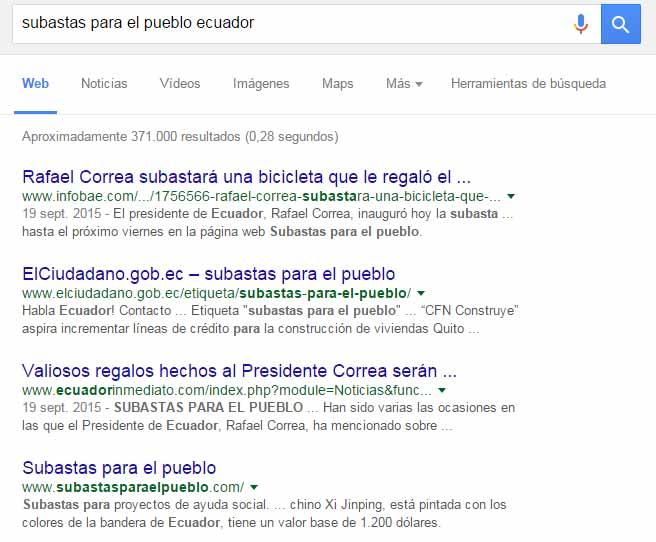 """Serps de Google por """"subastas para el pueblo ecuador"""""""