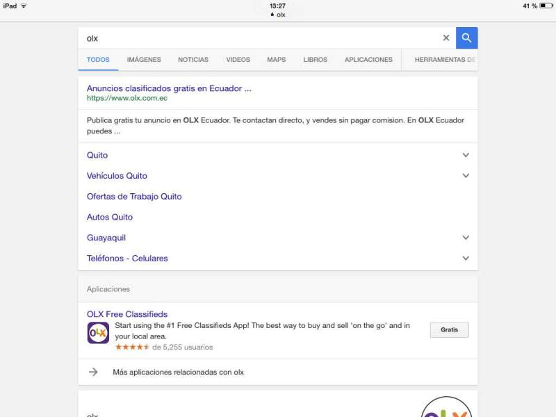 Aplicación en los resultados de búsqueda