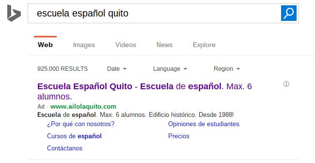 Anuncio en Bing de una escuela de español.
