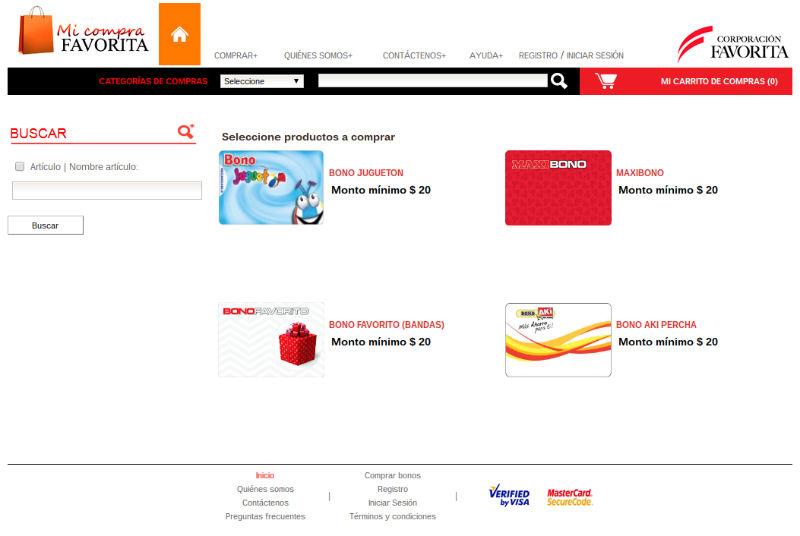 La cooperación Favorita vende tarjetas de regalo para sus supermercados Supermaxi, Megamaxi y Akí.