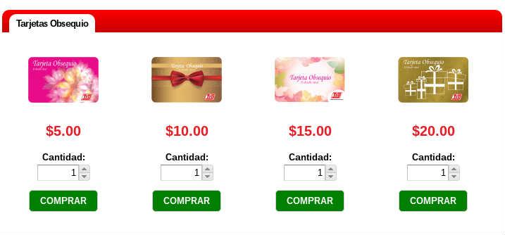 Tía vende tarjetas de regalo en su sitio web.