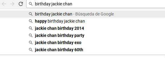 Birthday Jackie Chan, búsqueda en Chrome - barra de direcciones