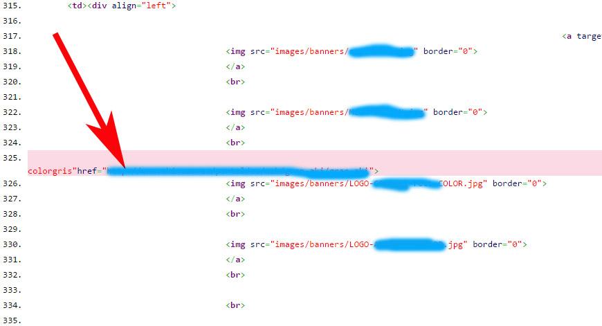 La herramienta muestra el error 404 en el código fuente.