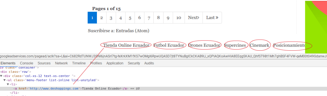 Links en el portal eldeportivoec.com