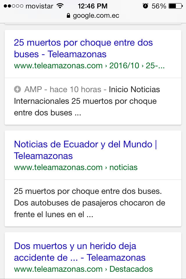 Resultados de búsqueda (móvil): Teleamazonas