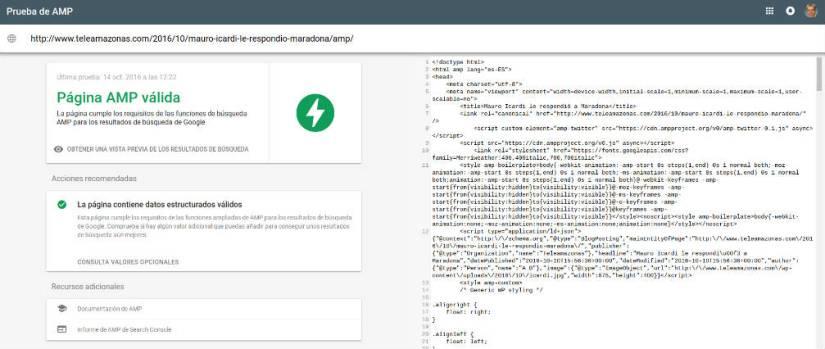 Validor del código Ampproject.