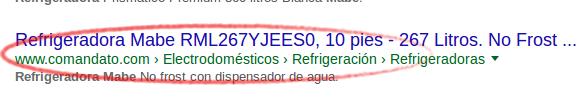 Google muestra la navegación de migas de pan de Comandato en los resultados de búsqueda.