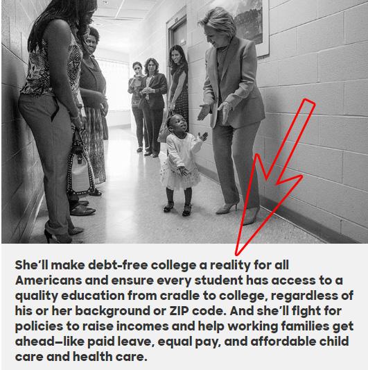 Etiqueta figcaption de una foto en el sitio de Clinton.
