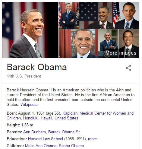 Obama en el Knowledge Graph.