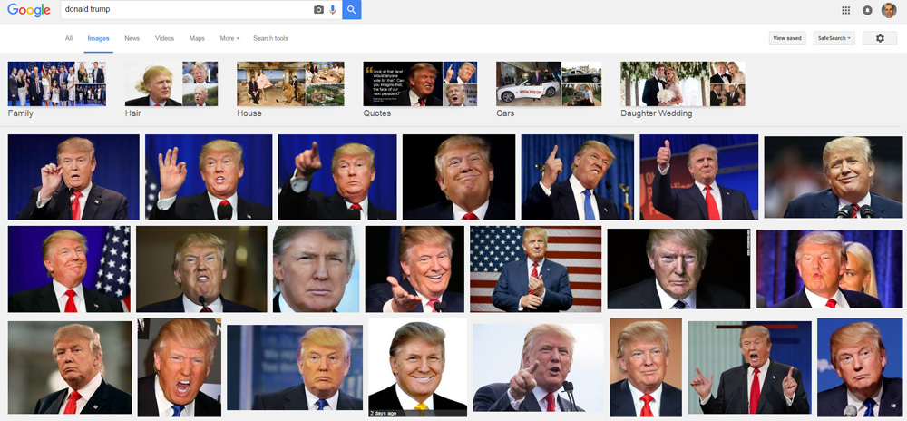 Trump in Google images.