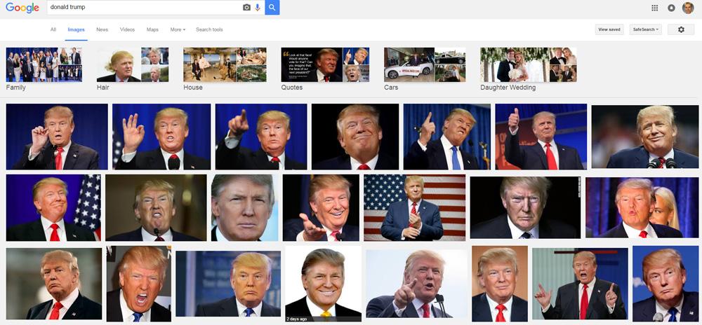Trump in Google images.
