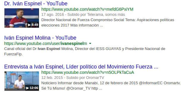 Resultado de búsqueda: canal de Espinel en Youtube.