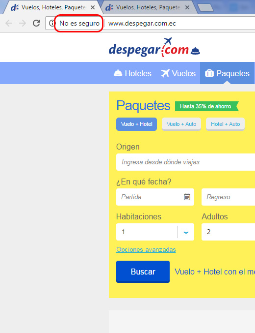 Despegar.com sale como no seguro