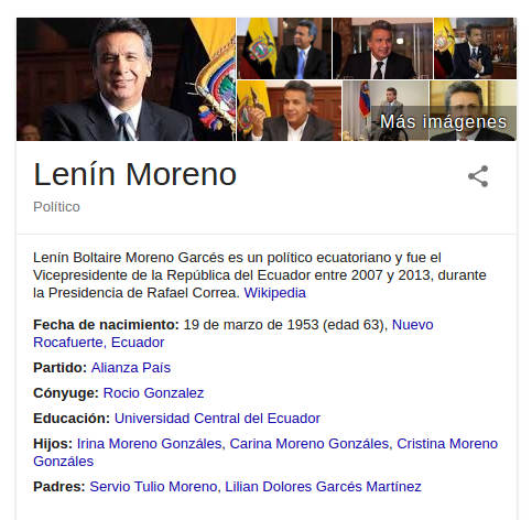Knowledge Graph de Lenin Moreno.
