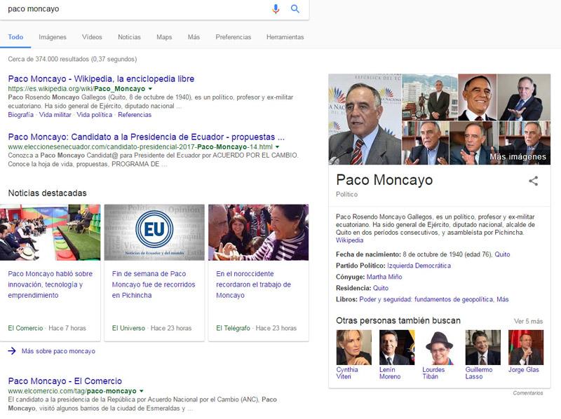 Resultados Google para Paco Moncayo.
