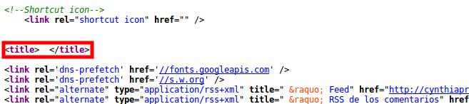 La página de inicio de Viteri no tiene un title.