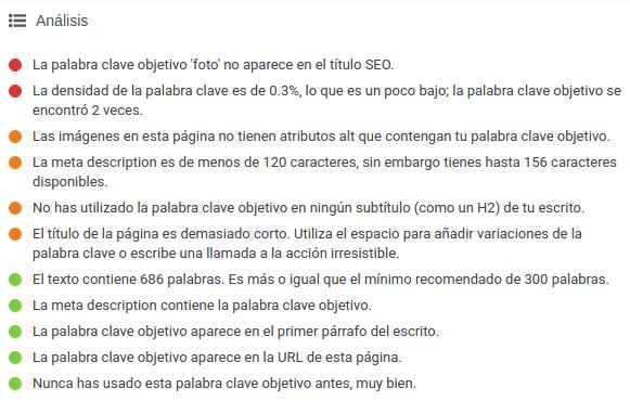 Análisis de SEO del plugin Yoast.