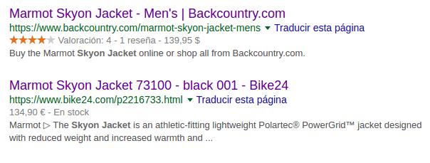 Rich Snippets en los resultados de búsqueda.