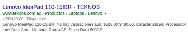 Fragmentos enriquecidos, ejemplo Teknos.