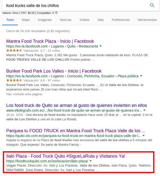 Resultados de búsqueda en Google.
