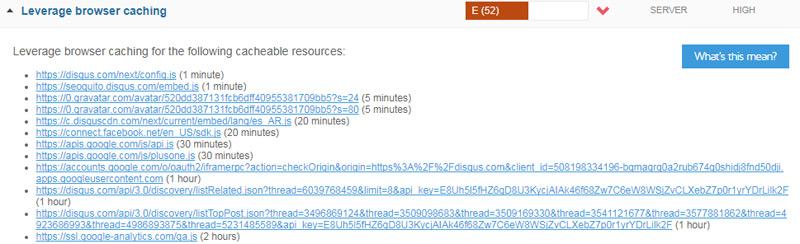 Leverage browser Chaching según GTmetrix.