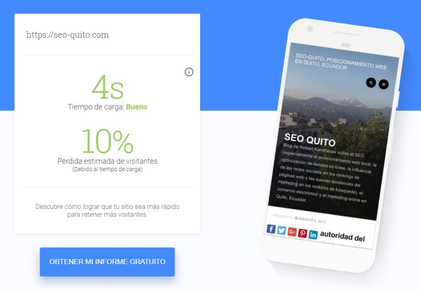 Page Speed de mi Blog en Google Test My Site.