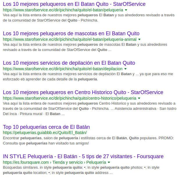 Resultados de búsqueda Peluquería Batán.