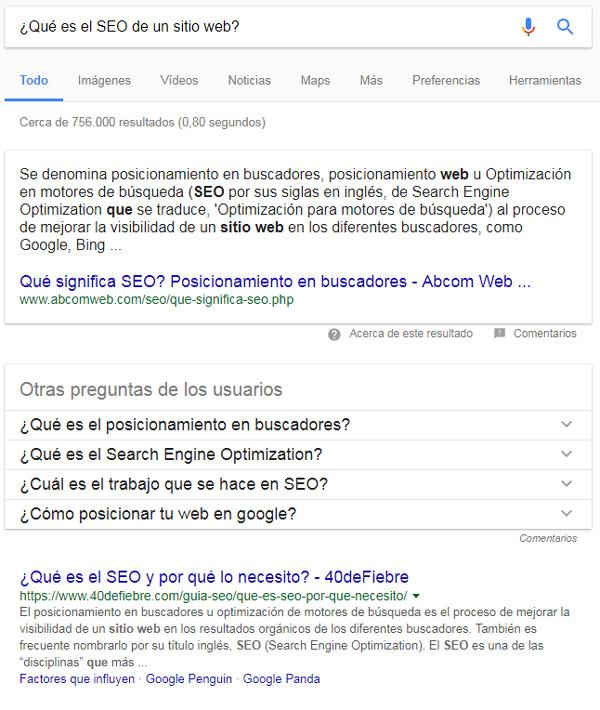Google muestra la respuesta a una búsqueda encima de los resultados.