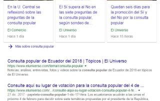 Resultados de Consulta popular en Google Ecuador.