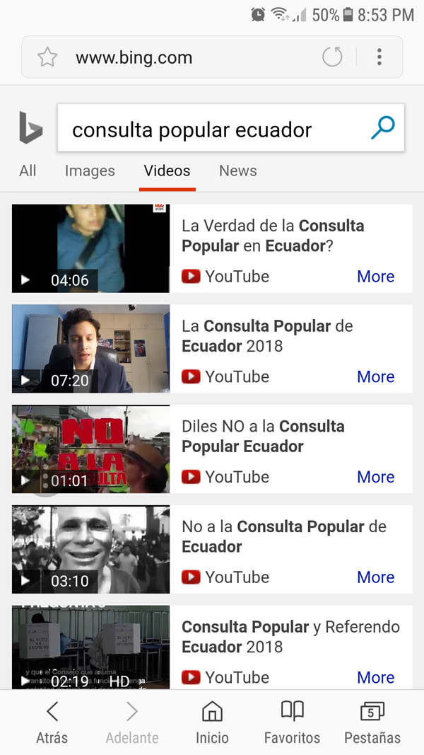 Resultados de videos en Bing.