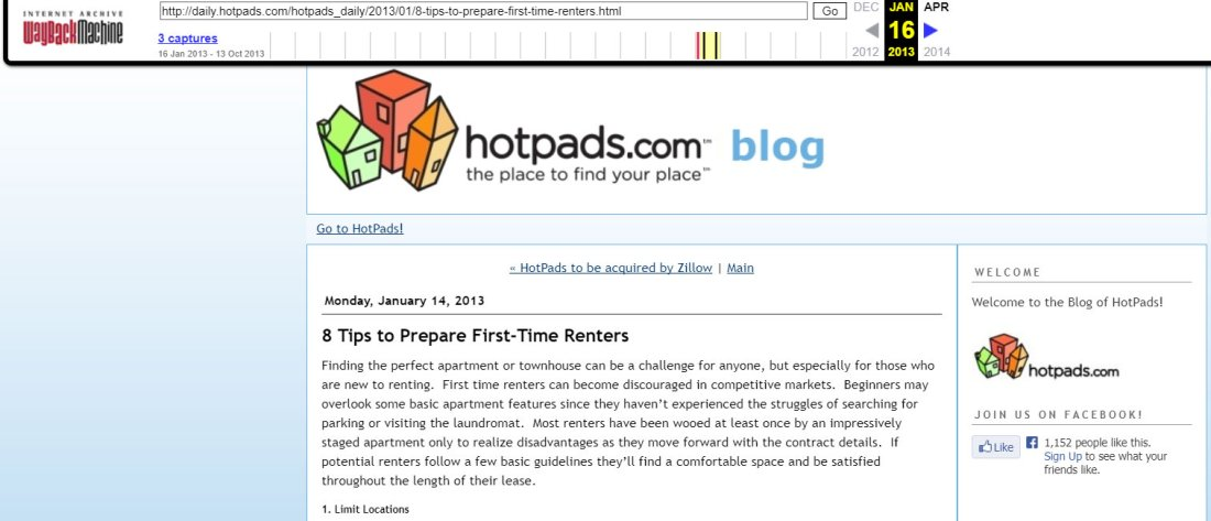 Blog de HotPads en 2013.