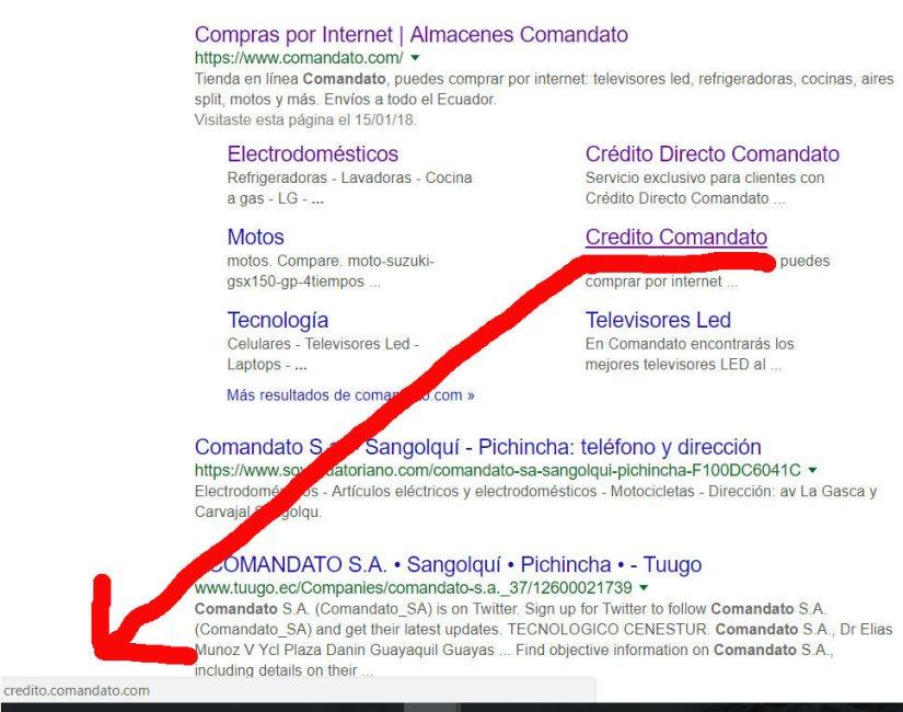 Comandato en los resultados de búsqueda de Google.