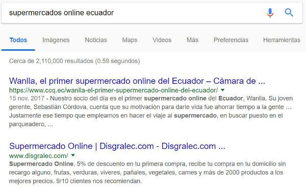 Resultados de búsqueda en Google por supermercados online ecuador.