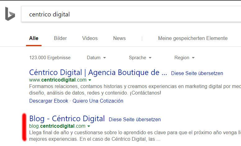 Subdominio en los resultados de Bing.