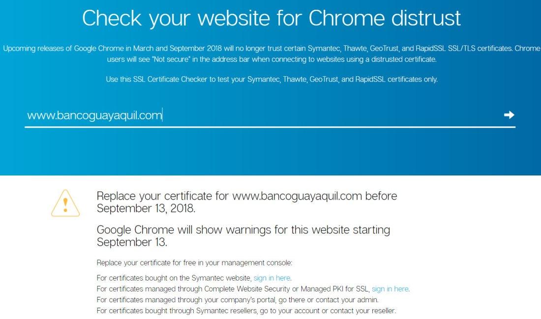 El certificado del Banco de Guayaquil es de Symantec.