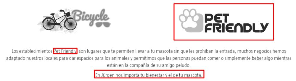 Jürgen Café anuncia en su página web que se permite mascotas.