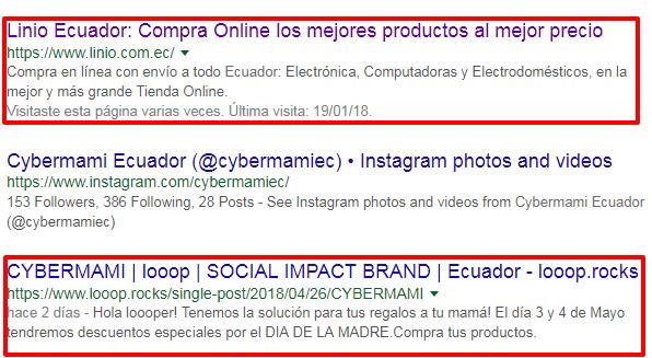 Resultados de búsqueda por cybermami en Google Ecuador.