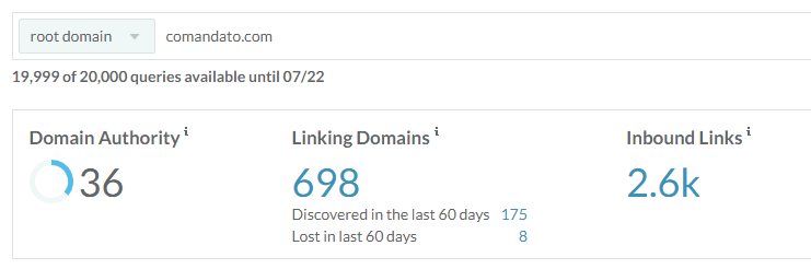 Datos sobre el dominio de Comandato según Link Explorer.