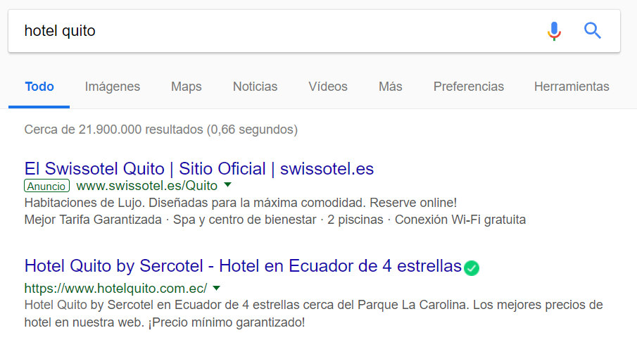 Resultados de búsqueda con Google Adwords.