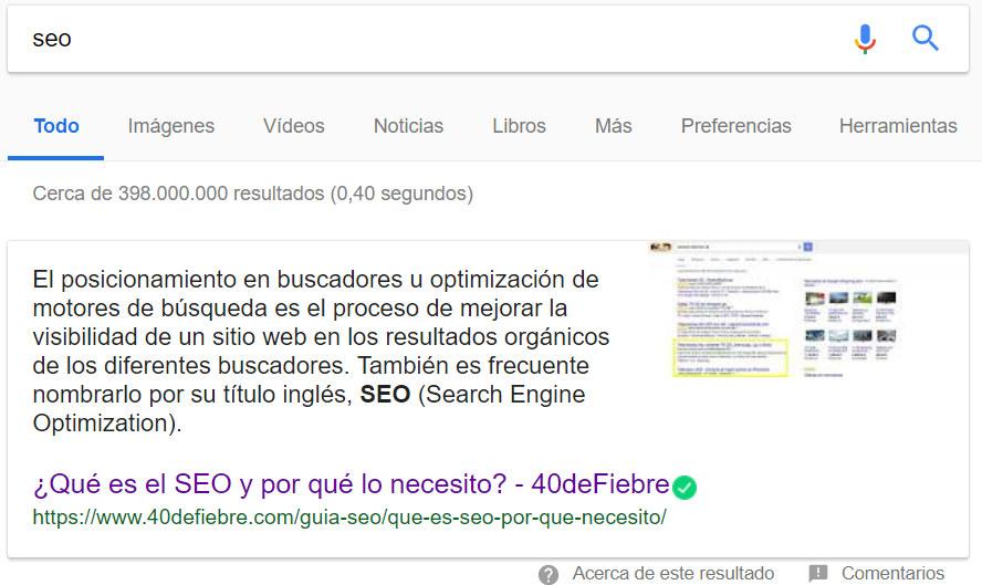 Caja de respuesta de Google.