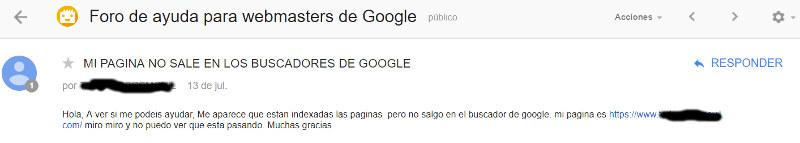 Pregunta en el Foro de ayuda para webmasters de Google sobre una página que no sale en Google.