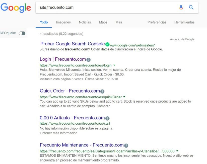 Frecuento: solo 4 páginas del comercio electrónico aparecen en Google.