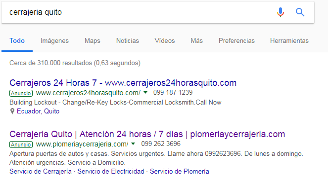 Publicidad para cerrajería quito en Google.